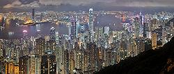 Hong Kong at Night looking at Victoria Peak